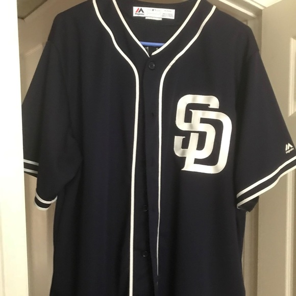 outlet store a6f1d 98a26 Navy Blue New Authentic Majestic Padres Jersey #27